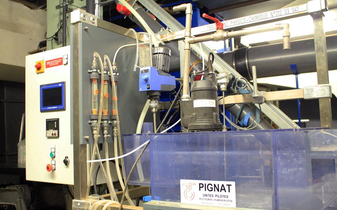 Pilote de traitement des eaux par coagulation, floculation, décantation
